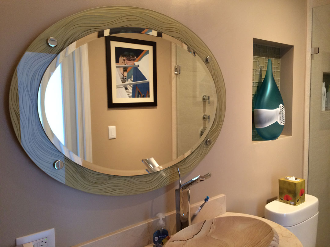 Custom etched mirrors antique contemporary decorative for Custom made mirrors for bathrooms