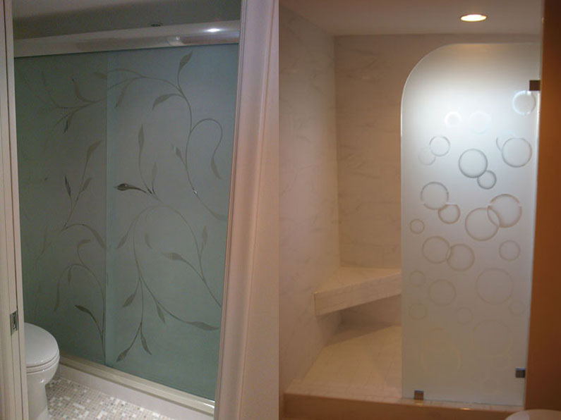 Etched glass shower doors for Bathroom door designs pictures